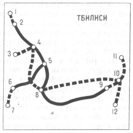 Схема метрополитена Тбилиси: